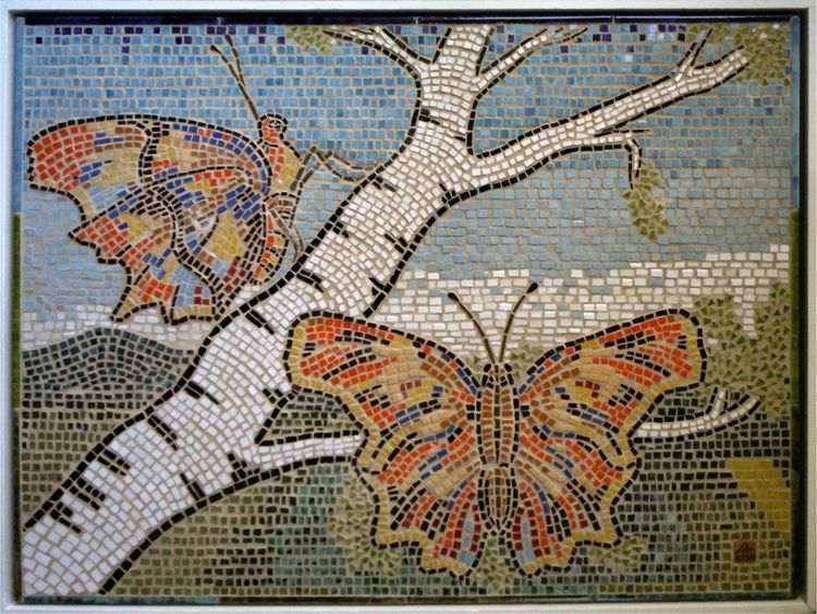 Mosaik, Zwei falter, Schmetterling, Mischtechnik