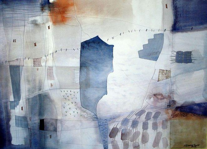 Stadt, Winter, Blau, Malerei, Architektur
