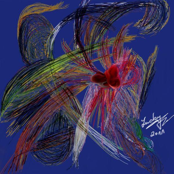 Verbindung, Herz, Abstrakt, Malerei