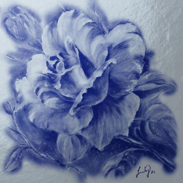 Metall, Blau, Wind, Malerei, Blumen