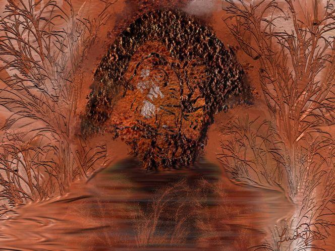 Höhlenbaum, Malerei, Blumen