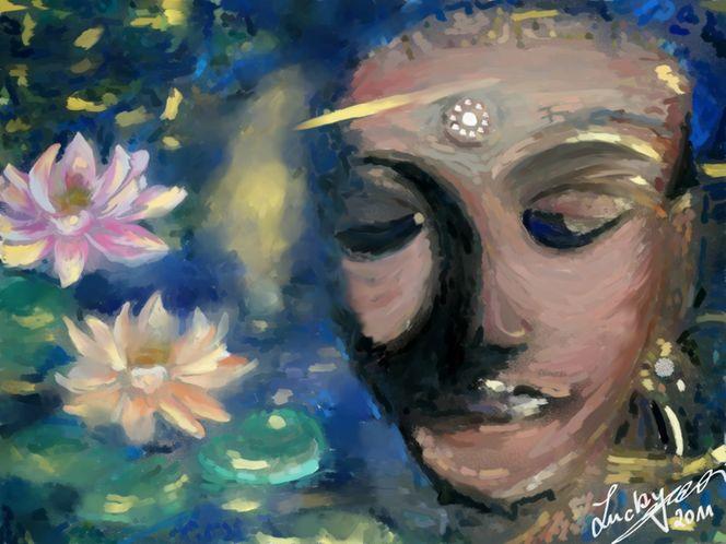 Seerosen, Buddha, Malerei, Digitale malerei