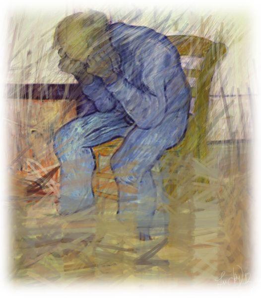 Traurig, Mann, Regen, Malerei