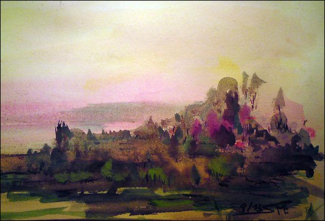 Wasserfarben, Aquarellartig, Landschaft, Abstrakt, Sonnenuntergang, Aquarell
