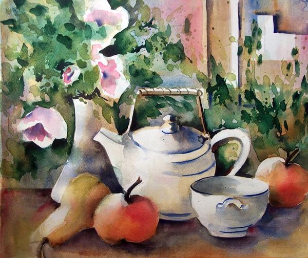 Blumen weissraum, Obst, Teekanne, Schale, Aquarell, Pflanzen