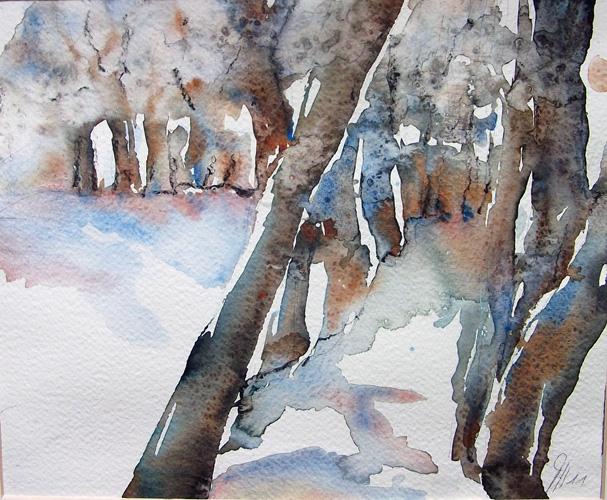 Fantasie, Aquarellmalerei, Winterstimmung, Landschaft, Modern, Abstrakt