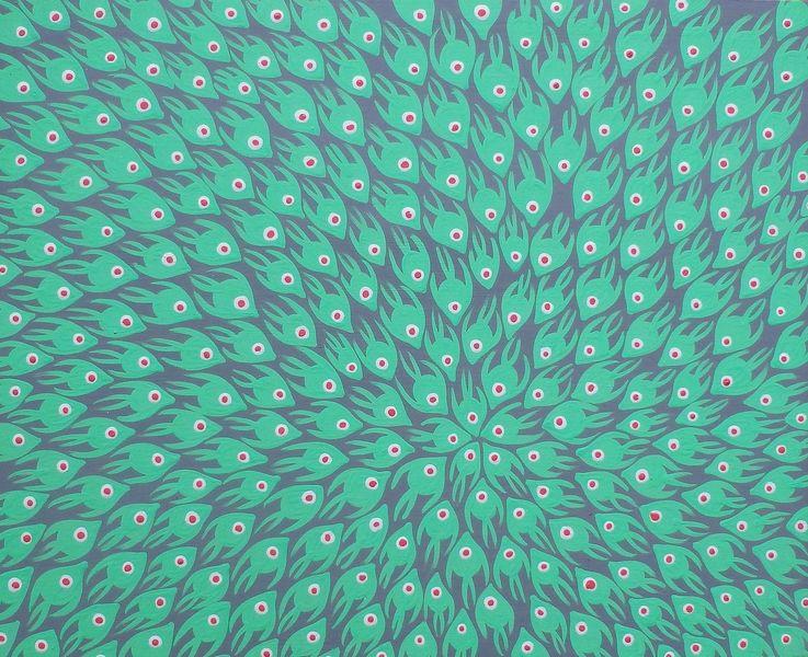 Grün, Rosa, Fisch, Grau, Malerei, See