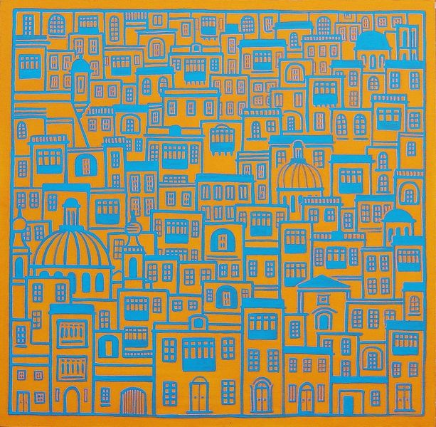 Orange, Blau, Malta, Stadt, Malerei