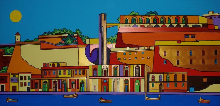 Valletta, Hafen, Malta, Malerei, Grand