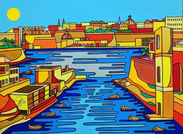 Birgu, Malta, Hafen, Kalkara, Malerei