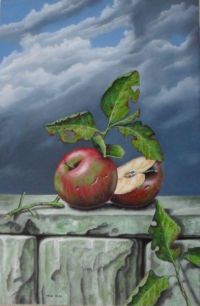 Blätter, Ölmalerei, Stillleben, Landschaft, Früchte, Malerei