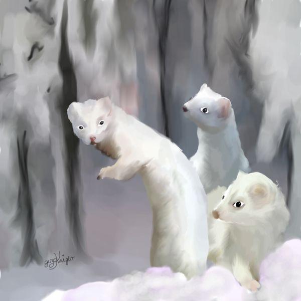 Wald, Winter, Tiere, Hermeline, Malerei