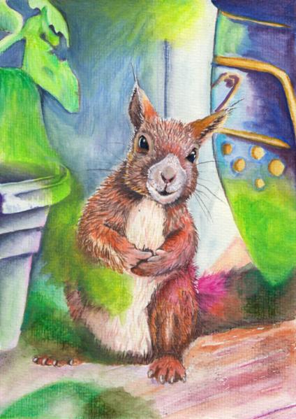 Wildtier, Eichhörnchen, Frech, Tiere, Aquarell