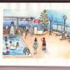 Skizzenbuch, Aquarellmalerei, Poolszene, Urlaub