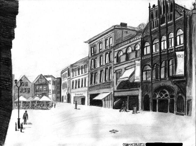 Stadt, Platz, Markt, Zeichnungen, Architektur, Marktplatz