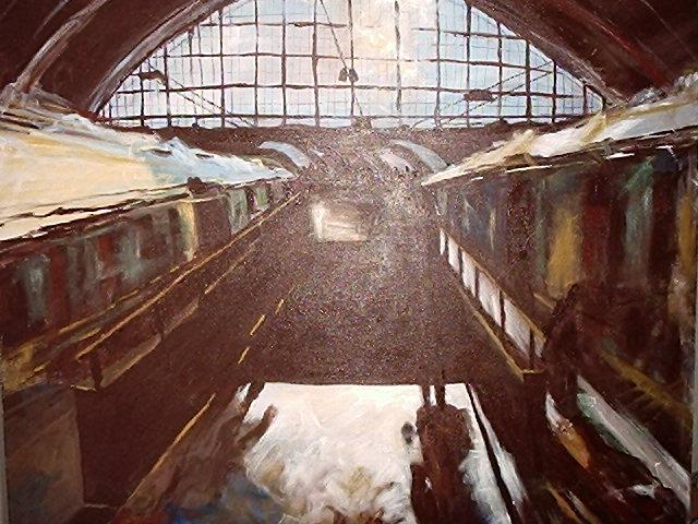 Acrylmalerei, Bahnhof, Malerei,