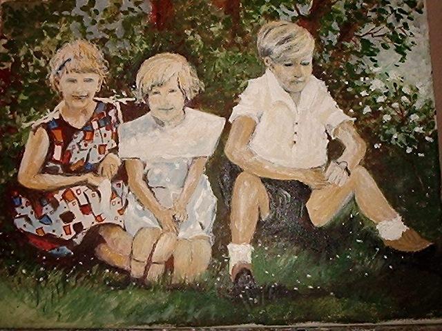 Kindergruppe, Acrylmalerei, Kinder, Malerei, Menschen, Geschwister