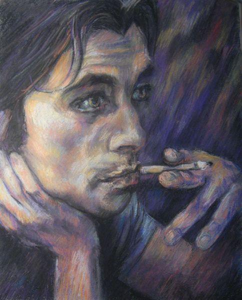 Farben, Menschen, Gemälde, Mann, Rauchen, Pastellmalerei
