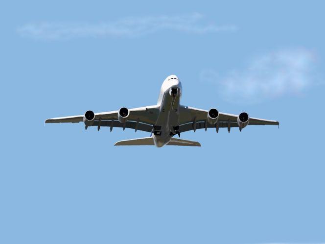 Himmel, Start, Triebwerk, A380, Flugzeug, Blau