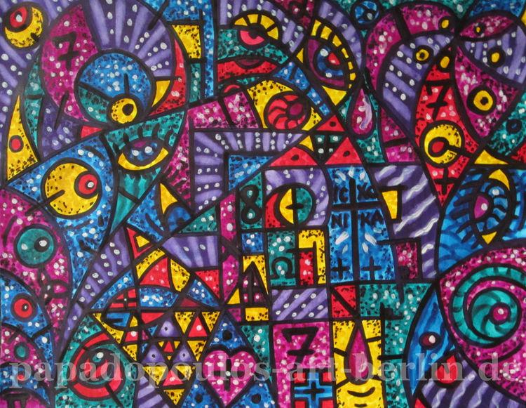 Aquarellmalerei, Liebe, Pink, Blau, Bunt, Kreuz