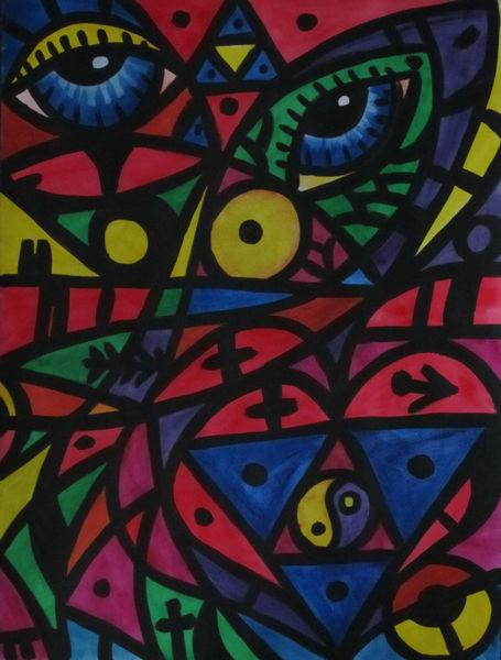 Kreis, Gelb, Aquarellmalerei, Rot, Augen, Fisch