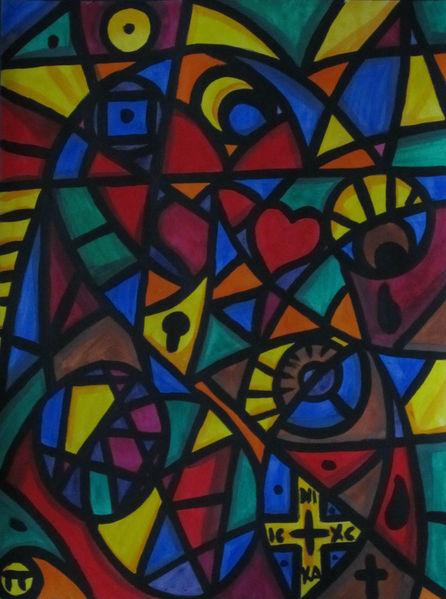 Aquarellmalerei, Weg, Orange, Sonne, Herz, Kreis