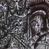 Kohlezeichnung, Krieger, Karikatur, Frieden