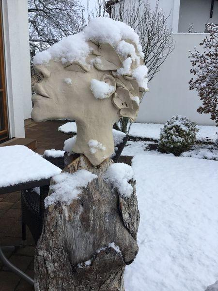 Kopf, Profil, Winter, Ton, Schnee, Keramik