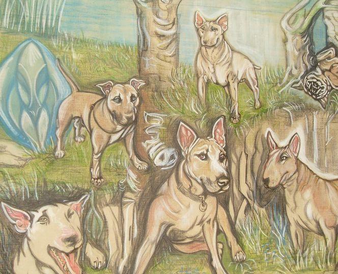 Hund, Familie, Kunsthandwerk, Textilfarbe, Leinen