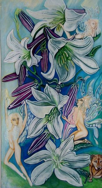 Fee, Lilien, Hund, Kunsthandwerk, Leinen, Textilfarbe