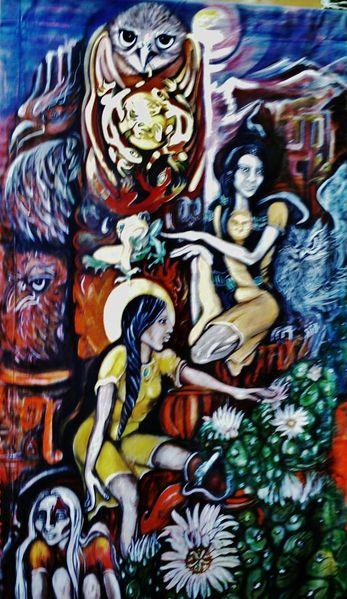 Frauen priesterinnen, Peotekakteen, Kunsthandwerk, Holz u, Erde