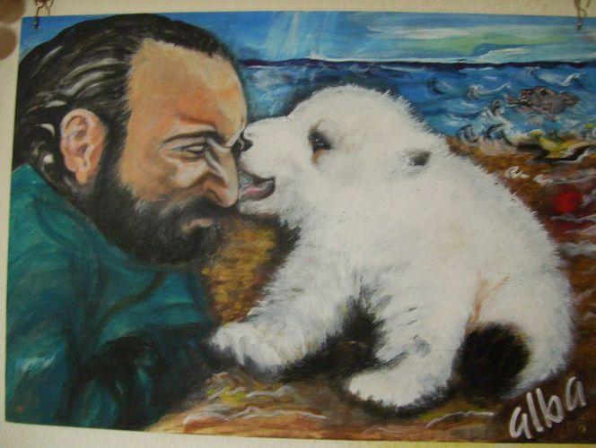 Strand, Bär, Mann, Eisbär, Kuss, Tiere