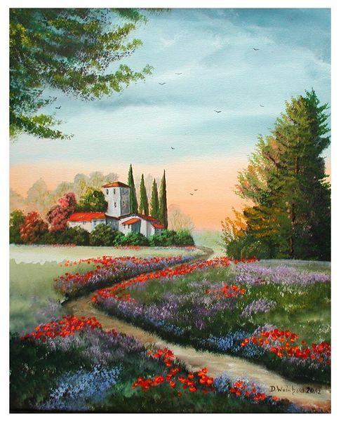 Baum, Blüte, Abendrot, Blau, Mohn, Weg