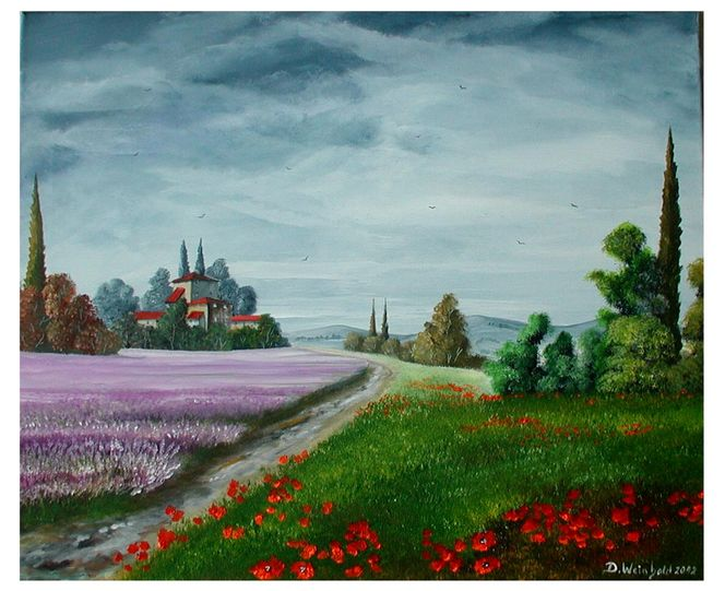 Sommer, Grün, Weg, Baum, Häuser, Lavendel