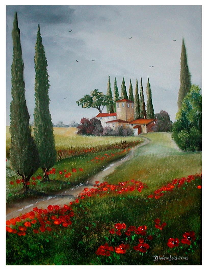 Ich liebe die Toscana-Toskana - Haus, Toskana, Zypressen ...