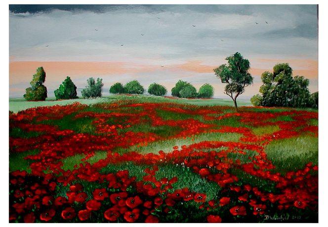 Knospe, Blüte, Blauer himmel wiese, Baum, Strahlen, Malerei