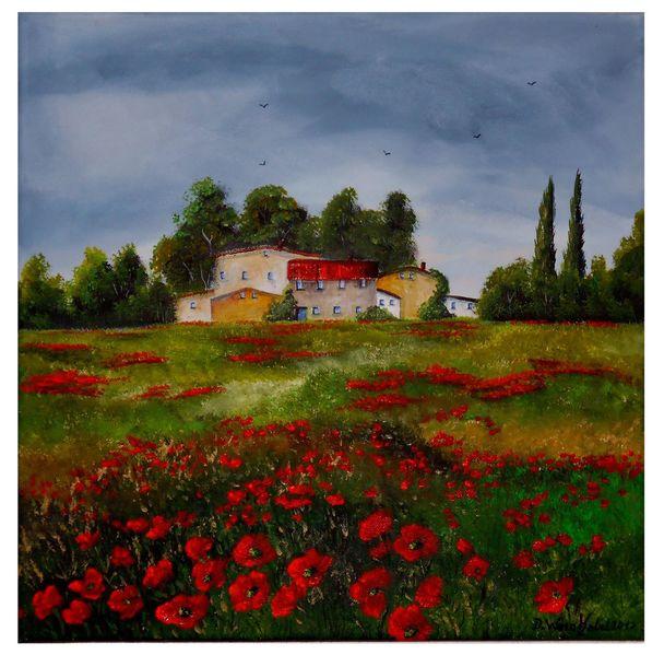 Leuchten, Wiese, Blüte, Gras, Wolken, Acrylmalerei