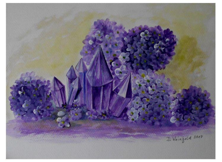 Romantik, Cristal, Stein, Glas, Leuchten, Blüte