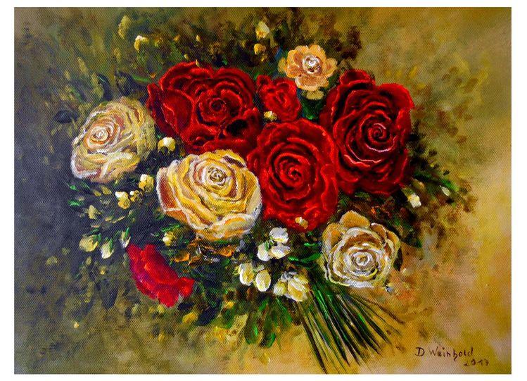 Büten, Rose, Leuchten, Rot, Strauß, Gelb
