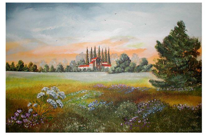 Sommerblumenwiese, Toskana, Malerei, Pflanzen