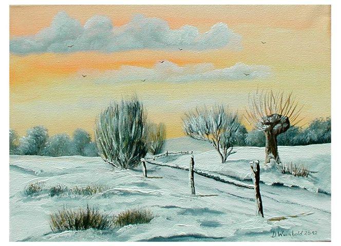Abend, Schnee, Weg, Frost, Winter, Baum