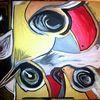 Grau, Vogel, Gelb rot, Rosa