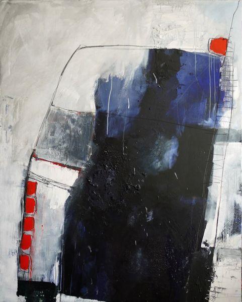 Elegant, Blau, Collage, Schleichen, Pastellmalerei, Struktur