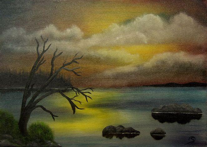 Landschaft, See, Ölmalerei, Schweden, Abendämmerung, Malerei