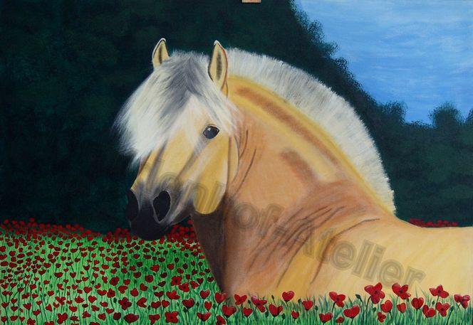 Pferde, Mohn, Tiere, Malerei,