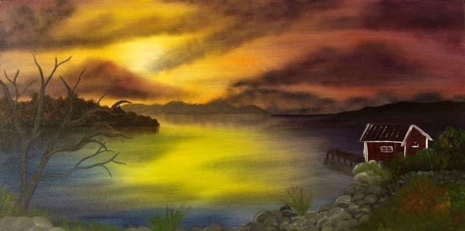 Landschaft schweden sonnenuntergang, Ölmalerei, Malerei, Schweden, Sonnenuntergang