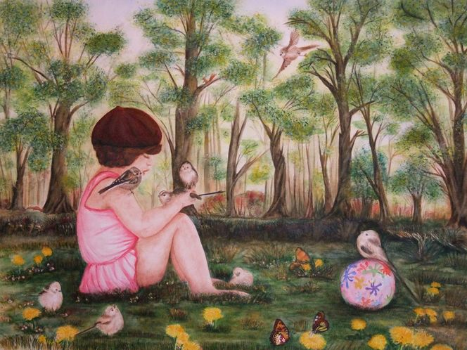 Figural, Vogel, Malerei, Menschen, Wiese, Natur