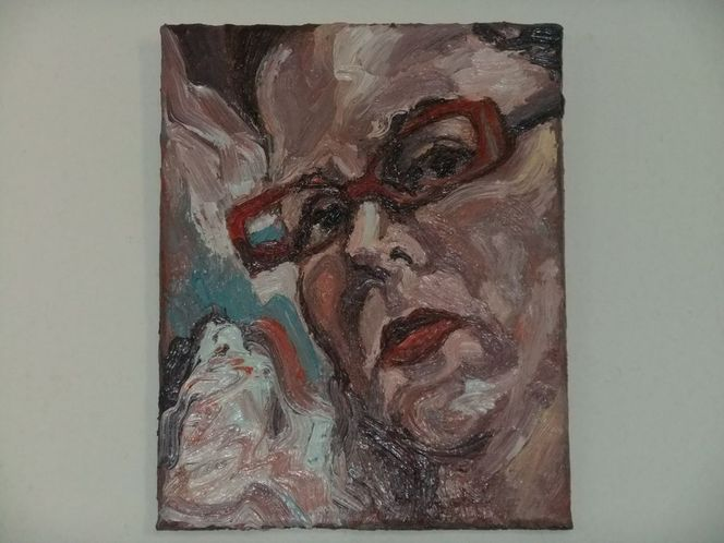 Rot, Ölmalerei, Brille, Portrait, Malerei,