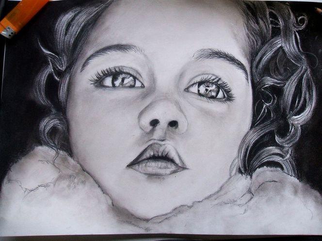 Portrait, Mädchen, Schwarz weiß, Locken, Kind, Malerei