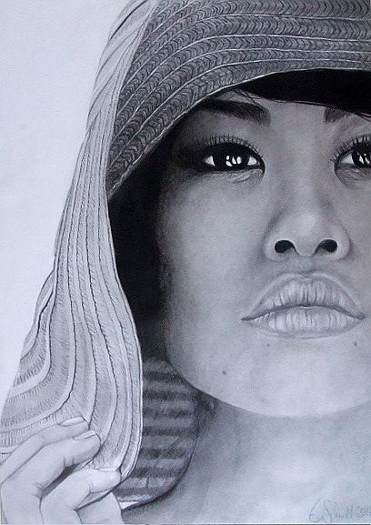 Asiate, Zeichnung, Schwarz weiß, Bleistiftzeichnung, Asien, Augen